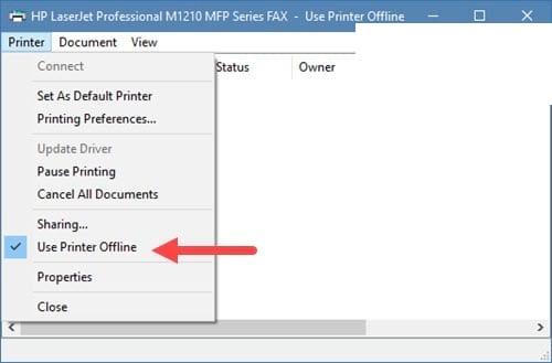 Cách tắt chế độ offline của máy in